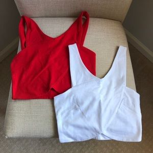 ASOS Wrap Front Crop Tops (2) - Red + White